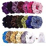 Aiserkly 20 unidades de gomas para el pelo de terciopelo brillante colorido baile cómodo Scrunchies Bobbles Bandas 20 colores multicolor