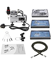 Yongke Weytoll Professional Airbrush Air Compressor Kit Dual-Action Hobby Nail Art Paint Spraying Air Brush Set with Cleaning Brush