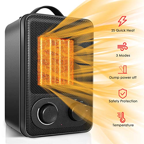 Space Heater, Portable Electric Ceramic Heaters for Office Indoor Use with Adjustable Thermostat and Tip-Over & Over-Heat Protection, Desktop Room Home Bathroom Heater 17W/850W/1500W Heater Room Space