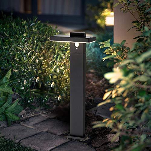BRIMMEL LED Solarleuchten 60W für Garten mit Bewegungsmelder Standleuchte Wasserdichte Außenlampe Pfostenlichter Ideal für Außen Terrasse Rasen Wege Silber Edelstahl 3000K 600LUM IP44 50CM, SG601026