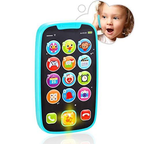 VATOS Juguetes para bebé, juguetes para el teléfono con luces, música, juguetes educativos tempranos para bebé de 8 a 12 m a 24 m + mi primer teléfono inteligente | Clic & Count, Call & Chat