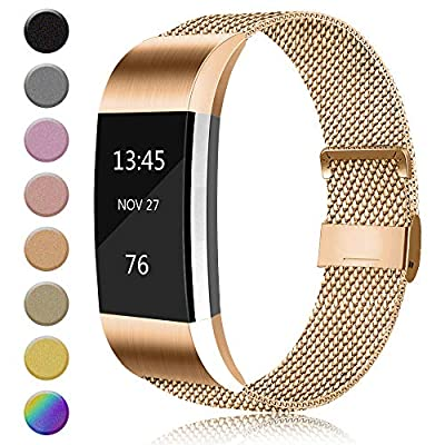 AK Metal Replacement Bands Compatible for Fitbit Charge 2 Bands, Stainless Steel Adjustable Wristband for Fitbit Charge 2 with Unique Magnet Clasp (Large, 04 Rose Gold)