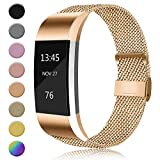 AK Metal Replacement Bands Compatible for Fitbit Charge 2 Bands, Stainless Steel Adjustable Wristband for Fitbit Charge 2 with Unique Magnet Clasp (Small, 04 Rose Gold)
