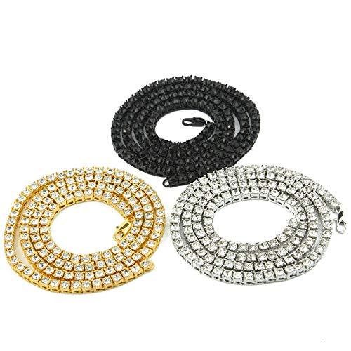 Aeici Aleación Collar Hombre Hippie Ancho 5.5mm Cadena de Caja de Tenis Collar Cadena de Hombre Plata 22 Inch