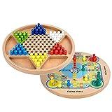 Jabroyee Bingo Ludo Board 2 en 1 - Tabla de juegos de madera para mujer china, ideal para reuniones familiares, juegos de mesa