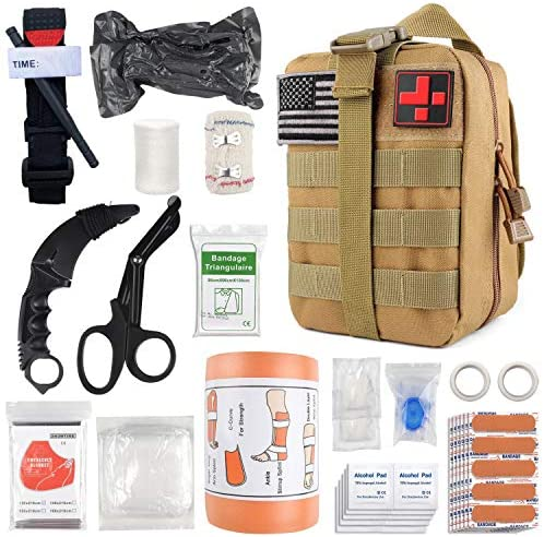 Emergency Survival First Aid Kit with Tourniquet 6 Israeli Bandage Splint Military Combat Tactical product image