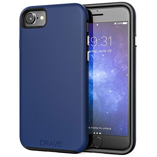 Crave iPhone SE 2020 Case, iPhone 8 Case, iPhone 7 Case, Dual Guard Protection Series Case for Apple iPhone SE/8/7 (4.7 Inch) - Navy