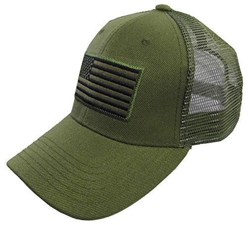 USA Flag Patch Tactical Style Mesh Trucker Baseball Cap Hat Army Green