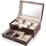 Watch Case Organizer, 12 Slots Jewelry Display Storage Drawer and Watch Holder Box for Men & Women, 2-Tier Organizer Watch Showcase with Glass Lid GK124 (Brown)