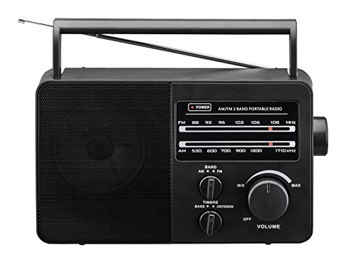 """JP-1 AM/FM 2 Band Portable Radio AC operated or operated by dry battery (""""D"""" Size x 4pcs, battery not included), black"""