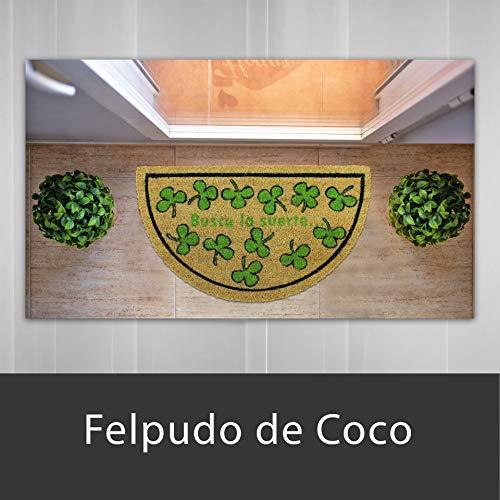 LucaHome - Felpudo de Coco Natural 70x40 con Base Antideslizante, Felpudo de Coco Divertido Treboles, Felpudo Absorbente Entrada casa, Ideal para Puerta Exterior o Pasillo