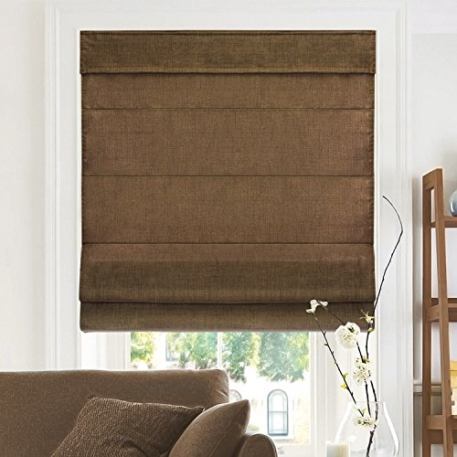 CHICOLOGY Cordless Roman Shades CrossHatched Modern Fabric Cascade Window Blind Treatment Belgian Chocolate Privacy amp Light Filtering 23quotW X 64quotH