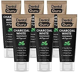 Dental Guru (6 Pack) Charcoal Toothpaste With Peppermint - Activated Charcoal Teeth Whitening Toothpaste - Fluoride Free - Freshens Breath - Great Taste (2.49 Per Tube)