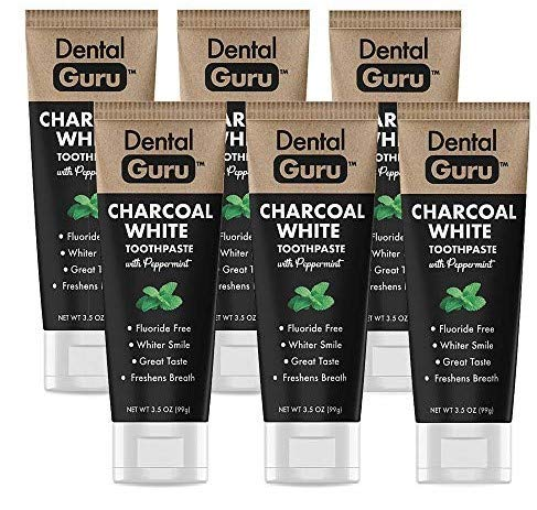 Dental Guru (6 Pack) Charcoal Toothpaste with Peppermint - Activated Charcoal Teeth Whitening Toothpaste - Fluoride Free - Freshens Breath - Great Taste