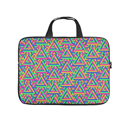 Colourful Mathematical Geometry Triangle Laptop Bag Shockproof Notebook Sleeve Pattern Notebook Bag for University Work Business