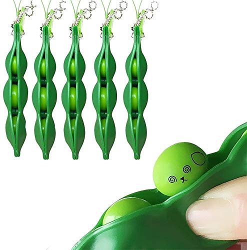 ZhengYue 5 Pezzi Fidget Bean Toy, Spremere Fagiolo Portachiavi Portachiavi Estrusione Spremere Fagioli di Soia Soia Stress Alleviare i Giocattoli