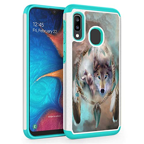 Compatible with Galaxy A10E Case, Galaxy A20E Case,Skyfree Shockproof Heavy Duty Protection Hard PC & Soft TPU Hybrid Dual Layer Protective Phone Case for Samsung Galaxy A10E/A20E,Wolf Dream Catcher