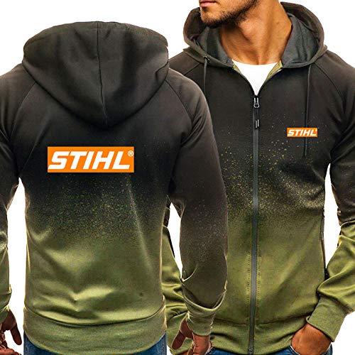 Herren Hoodie Für Stihl 3D Print Mit Kapuze Sweatshirt Beiläufige Sportjacke Langhülse Voller Reißverschluss Für Frühlingsgeschenk Green-XX-Large