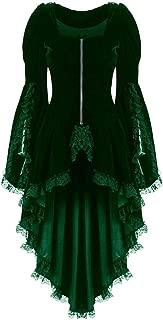 LONGDAY Renaissance Corset Dress Gothic Halloween CosplayWomens Classic Black Layered Lace-up Cotton Lolita Dress