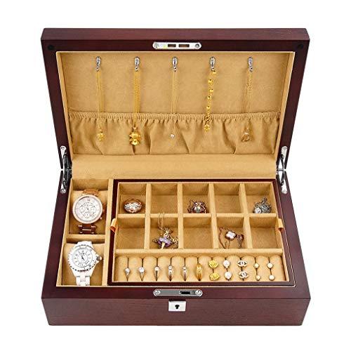 Preisvergleich Produktbild LIYANSBH Armbanduhren Schmuck Armband Sammlungen,  2 Schicht 18 Fächer Halskette Schmuck Organizer mit Schloss Schmuck Halter for Ohrringe Armbänder Ringe Großes Geschenk Wahl