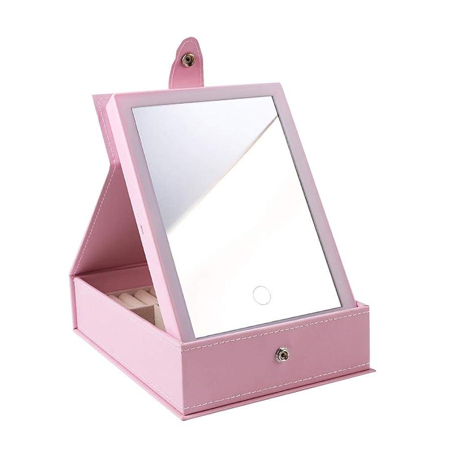 聞きます正当化する予報化粧鏡化粧鏡LEDライト化粧鏡ポータブル折りたたみ化粧鏡デスクトップホームPU化粧鏡 (Color : BLACK, Size : 24.5*18.5*6.3CM)
