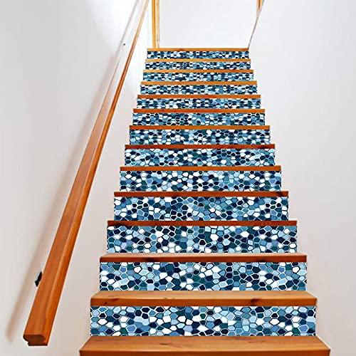 tzxdbh 3D Pegatinas de Escalera Azul mosaico 100CMx18CMx13pieces(39.3'w x 7'h x 13pieces) Escaleras Cocina Piso Baño Simulación Decoración de Pared Hogar Impermeable Extraíble Etiqueta de Pared