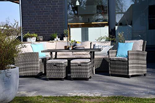 Outzone RuhDich, Sitzgruppe Gartenset für 8 Personen, Sofas Sessel, 2 Hocker, Dicke Polsterung, Tisch mit Glasplatte, Polyrattan