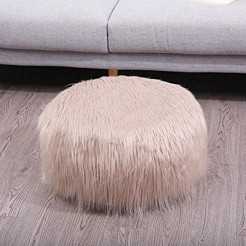 Comfortabel Zhuyue Faux Schapenvacht zitzak zachte vacht Bean Bag Fluffy Kleine Ronde Lazy Bean Bag Sofa Portable opblaasbare Christmas Decor-Brown_United Staten