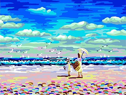 Kit per Dipinto a Olio su Tela Fai da Te, per Adulti e Bambini, da colorare seguendo i Numeri, 40,64 x 50,8 cm, Vacation