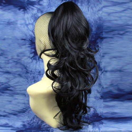 NOUVEAU Longue Noir Queue de Cheval Clip Extension de cheveux