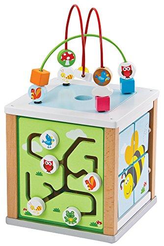 Lelin Legno Naturale attività cubo Perline Filo Labirinto Creativo Giochi educativi Giocattolo, 31611, Colore, Maze