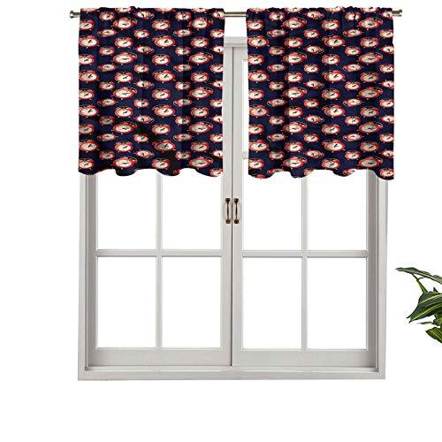 Hiiiman Cortinas cortas con cenefa, protección de privacidad, reloj analógico, diseño retro, juego de 2, cortinas de ventana de 137 x 91 cm, para baño, cocina, sala de estar