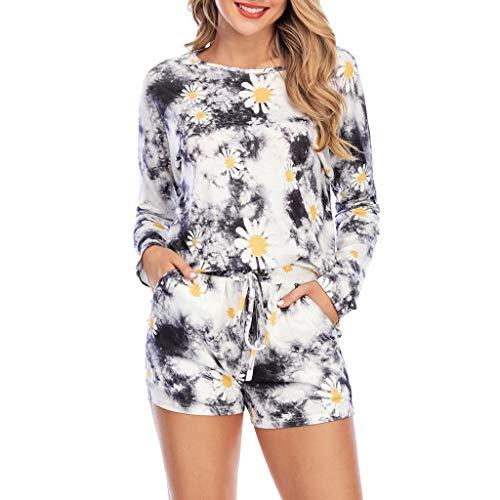 TOFOTL Damen Tie-Dye/Daisy Shorts Sets Freizeit Lounge Wear Anzug Nachtwäsche Trainingsanzug