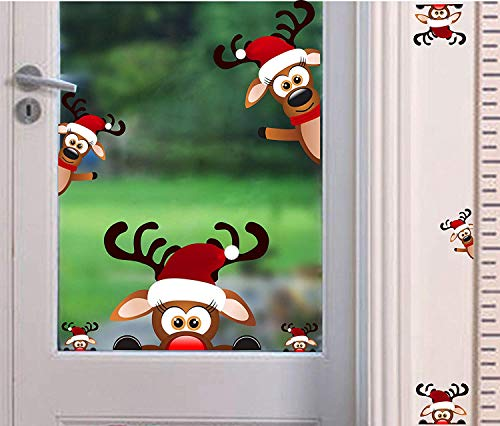 Christmas Reindeer Wall Decal ,Lovely Christmas Wall Sticker for Kids Room Decoration,Window Cling Decal,Christmas Home Decals (9 pcs)