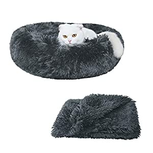 Patas Lague 2-Piece Donut Calming Dog Bed Set (1 Bed, 1 Blanket), Faux Fur Plush Cat Pet Bed, Comfortable and Washable, (24 inches, Dark Grey)