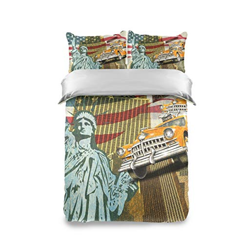 FANTAZIO Extra Soft Twin Sheets Set America Statue Of Liberty Flag And Retro Car Breathable and Cooling Sheets Twin Size 3 Pieces Sheet Set including 2 Pillowcases