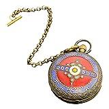 LAOJUNLU Return Western - Reloj de bolsillo mecánico de doble apertura de cobre puro esmaltado, color rojo, imitación de bronce antiguo, colección de solitario estilo chino tradicional