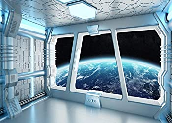 LYWYGG 7x5FT Vinyl Spaceship Interior Background Futuristic Science Fiction Photography Backdrops Spacecraft Cabin Photo Shoot Studio Props Astronomy Universe Galaxy Outer Space Station CP-214