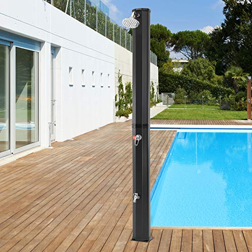 ECD Germany Ducha Solar de Jardín Negra 35L 217cm Agua Caliente hasta 60°C sin Electricidad con Conexión para Manguera Moderno Elegante Cabezal Ducha de Lluvia Ajustable y Grifo para Piscina Camping