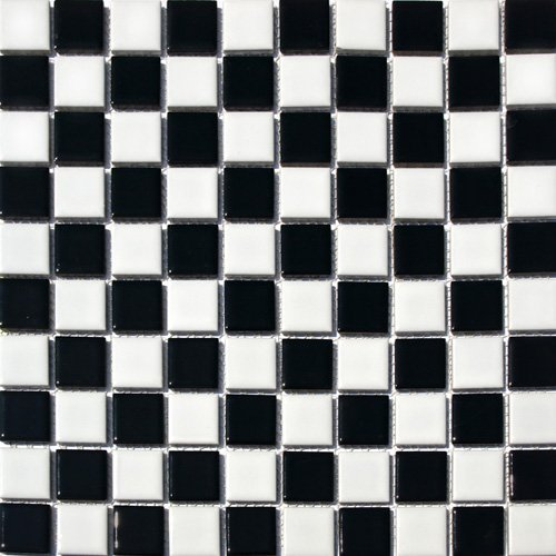 Vogue Square Checkered Tile Black & White Porcelain Mosaic Shiny Look Designed in Italy (12x12)