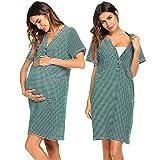 Ekouaer Camisón de manga corta para mujer, a rayas, cuello en V, para embarazadas, para embarazadas, con cuello en V verde S