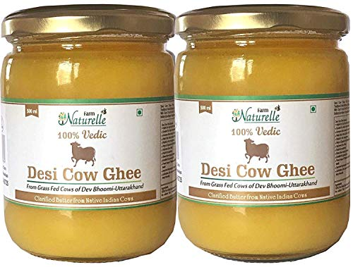Desi Cow Ghee - 100% Pure From A2 Milk - 500 ML each (Pack of 2)