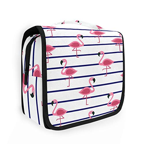 CaTaKu - Neceser con diseño de flamencos tropicales a rayas y chic, bolsa de aseo multifunción, bolsa de cosméticos, portátil, resistente al agua, bolsa organizadora de viaje para hombres y mujeres