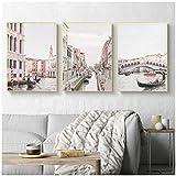 LLXHGRosa Venedig Italien Stadt Leinwand Poster