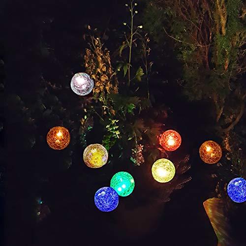 3x 3er Set LED-Solarleuchte ENA Solar-Glaskugel mit wechselnden Lichtfarben Crashglas-Bruchglas-Optik Solar-Blumentopf-Blumenbeet-Balkon-Deko-Stimmungs-Lampe