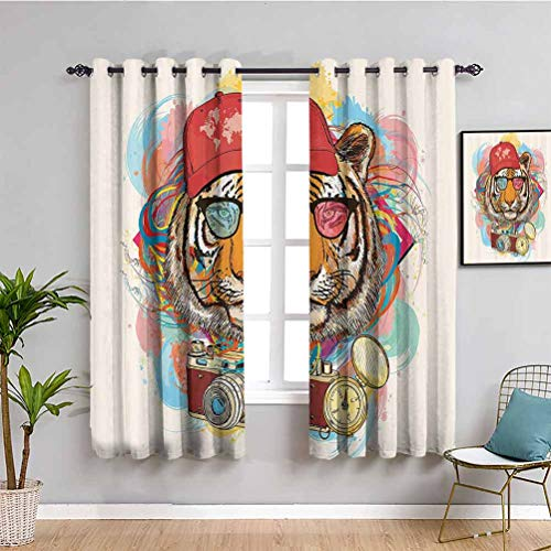 Decoración de apartamentos Cortinas de salón 2 paneles Hipster Rapper Style Tigre con gafas de sol sombrero y cámara Artista Hippie Animal Comic Print Room oscurecido Multi W72 x L72 pulgadas