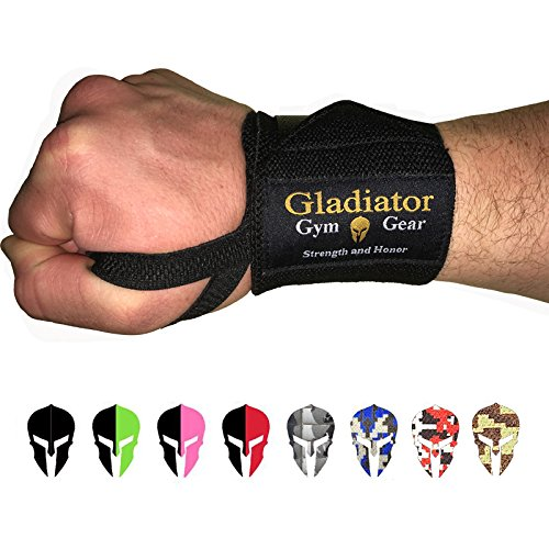 GLADIATOR GYM GEAR Wrist Wraps for Weight Lifting - Support & Protection for Power Lifting Cross Training & Bodybuilding G3 Lifting Wrist Strap - The Ultimate Power WRAP for Men and Women (Black)