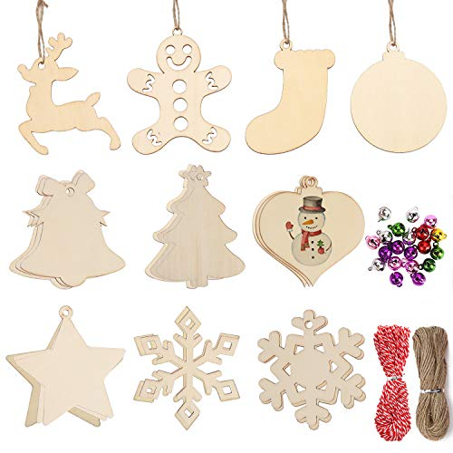 DIYASY Christmas Wood Ornaments for Crafts,60 Pcs DIY Unfinished Wood Cutouts Kit for Kids and Adults Christmas Trees Hanging Decoration