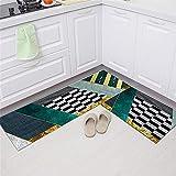2 Piezas Alfombras De Cocina Antideslizantes y Lavables Protección del Medio Ambiente Moderna Antiincrustante Antifatiga Absorción de Agua Alfombra Cocina (Estilo 52) 40x60cm+40x160cm