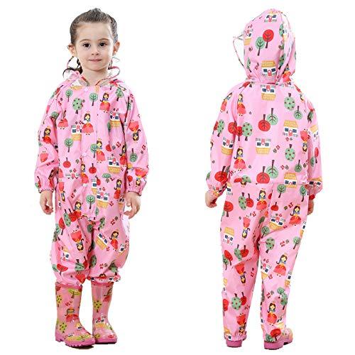 TURMIN Kinder Regenmantel mit Kapuze Mädchen Jungen Wasserdicht Regenanzug All in One Süß Muster Regenjacke Regenbekleidung Regen Poncho für Grundschüler Jungen Mädchen-Rosa-S